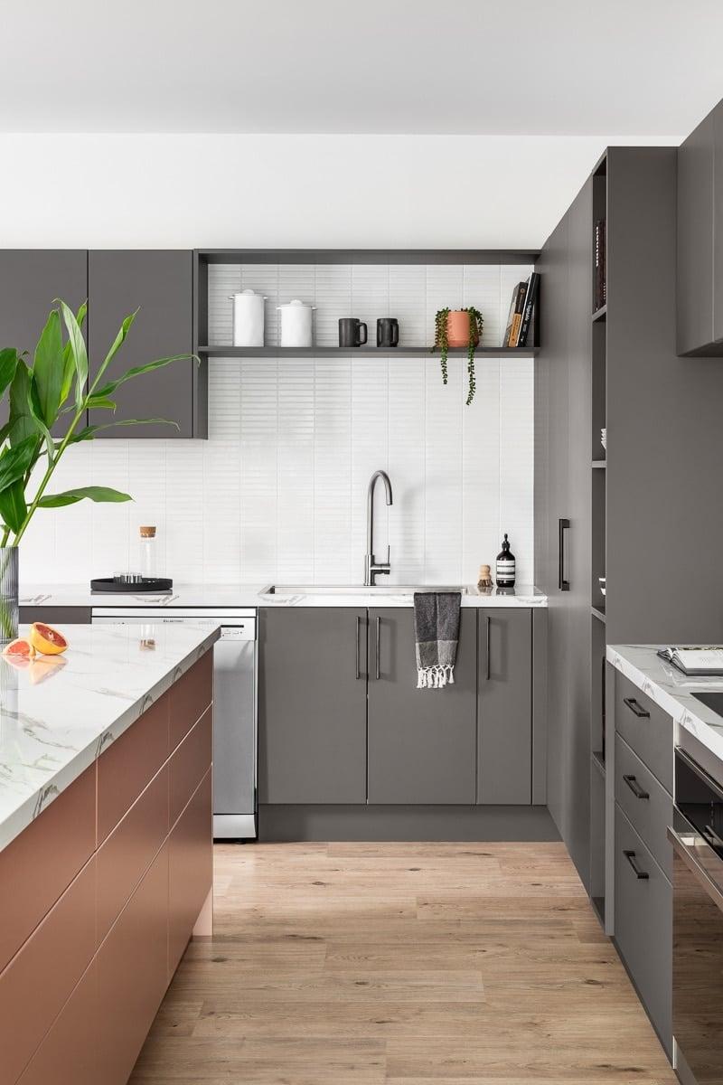 dark grey kitchen cabinets with white tile splashback kaboodle kitchens