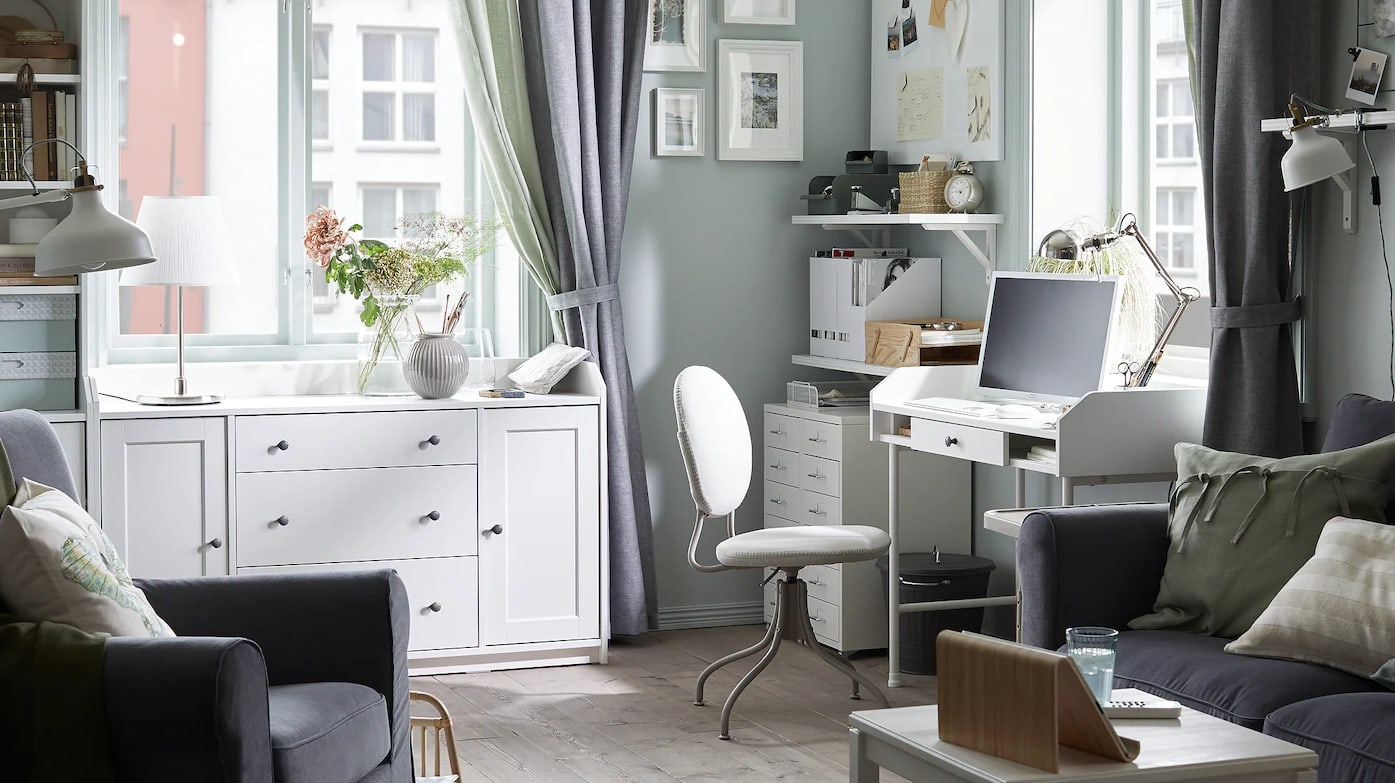 ikea small home office in living room white desk and storage cabinet
