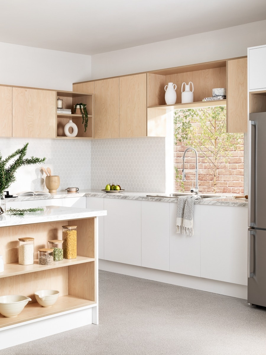 plywood kitchen cabinets from kaboodle kitchens with white benchtop