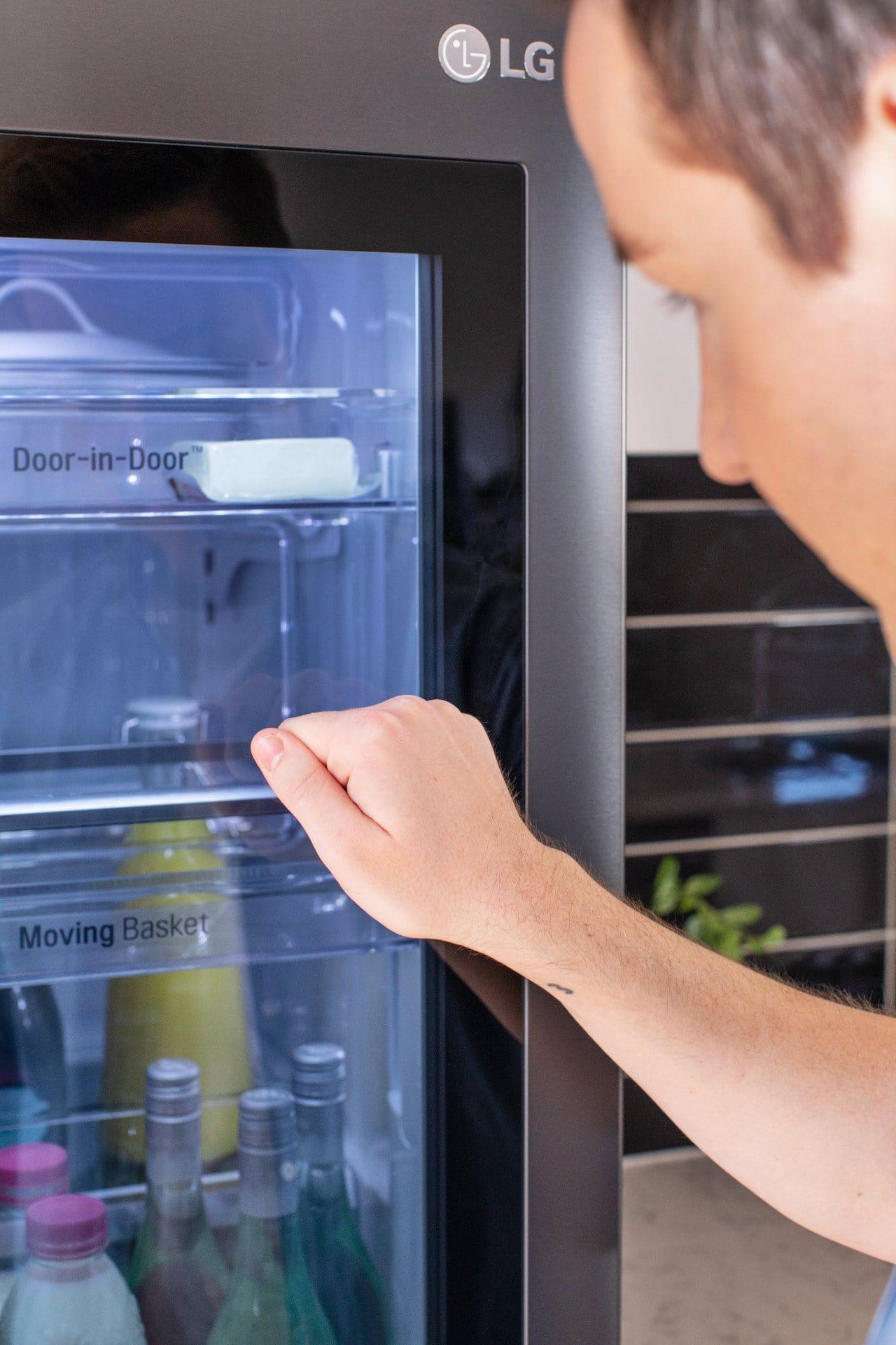 glass panel on lg instaview french door fridge review