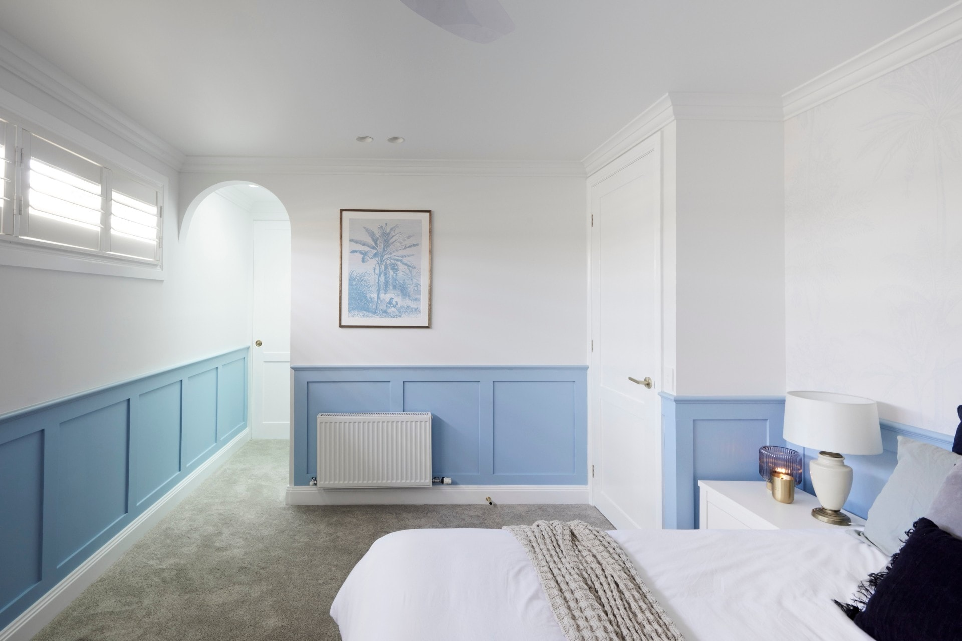 the block 2021 Kirsty and Jesse guest bedroom blue and white walls