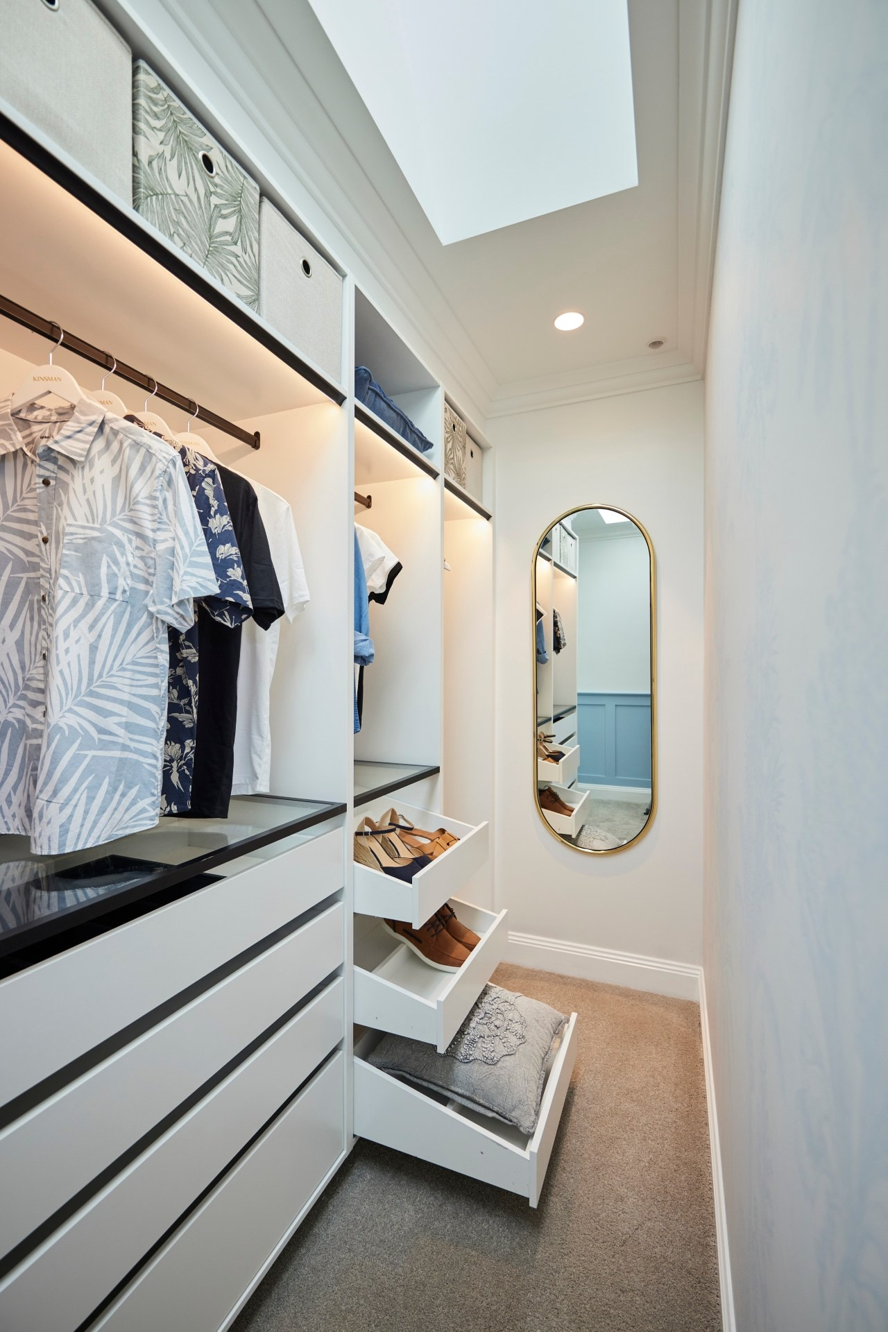 the block 2021 Kirsty and Jesse guest bedroom walk in wardrobe