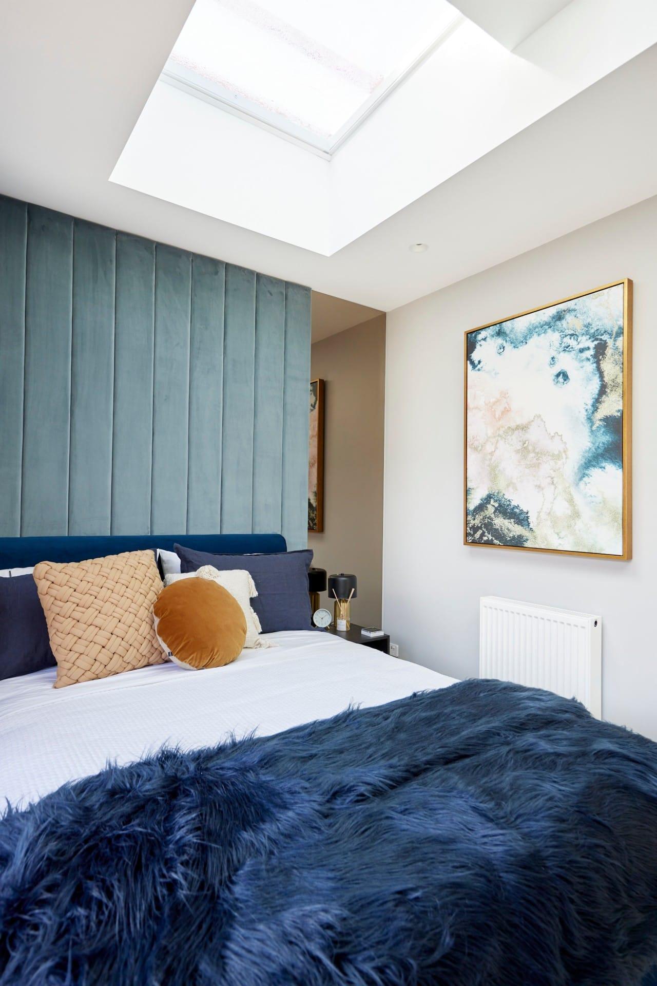 the block 2021 josh and luke guest bedroom velvet fabric wall