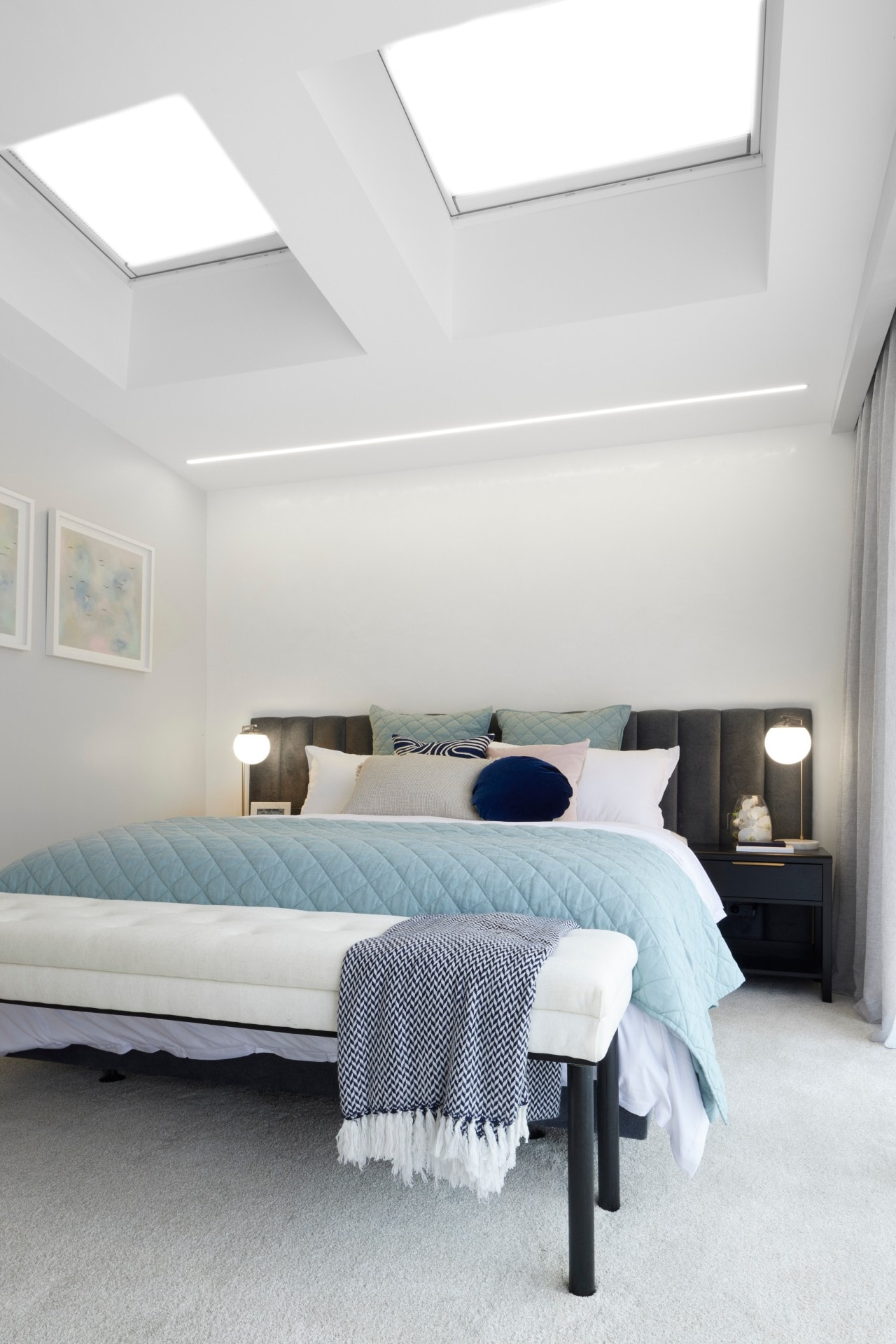 the block 2021 josh and luke master bedroom bed styling and skylights