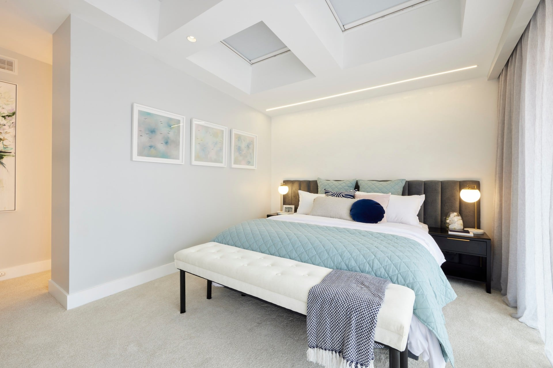 the block 2021 josh and luke master bedroom grey upholstered headboard