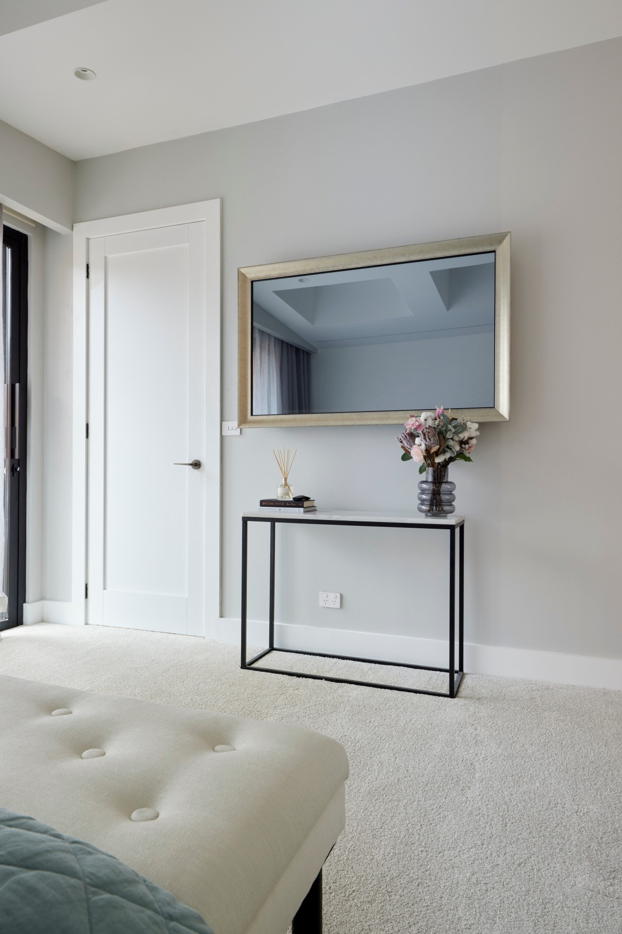 the block 2021 josh and luke master bedroom mirror and console