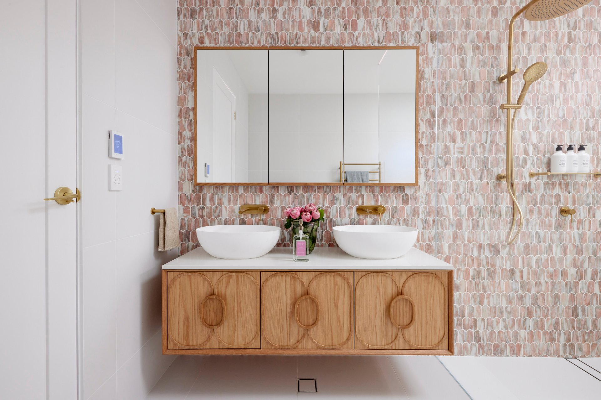 the block 2021 mitch and mark guest bathroom floating timber vanity and brass tapware