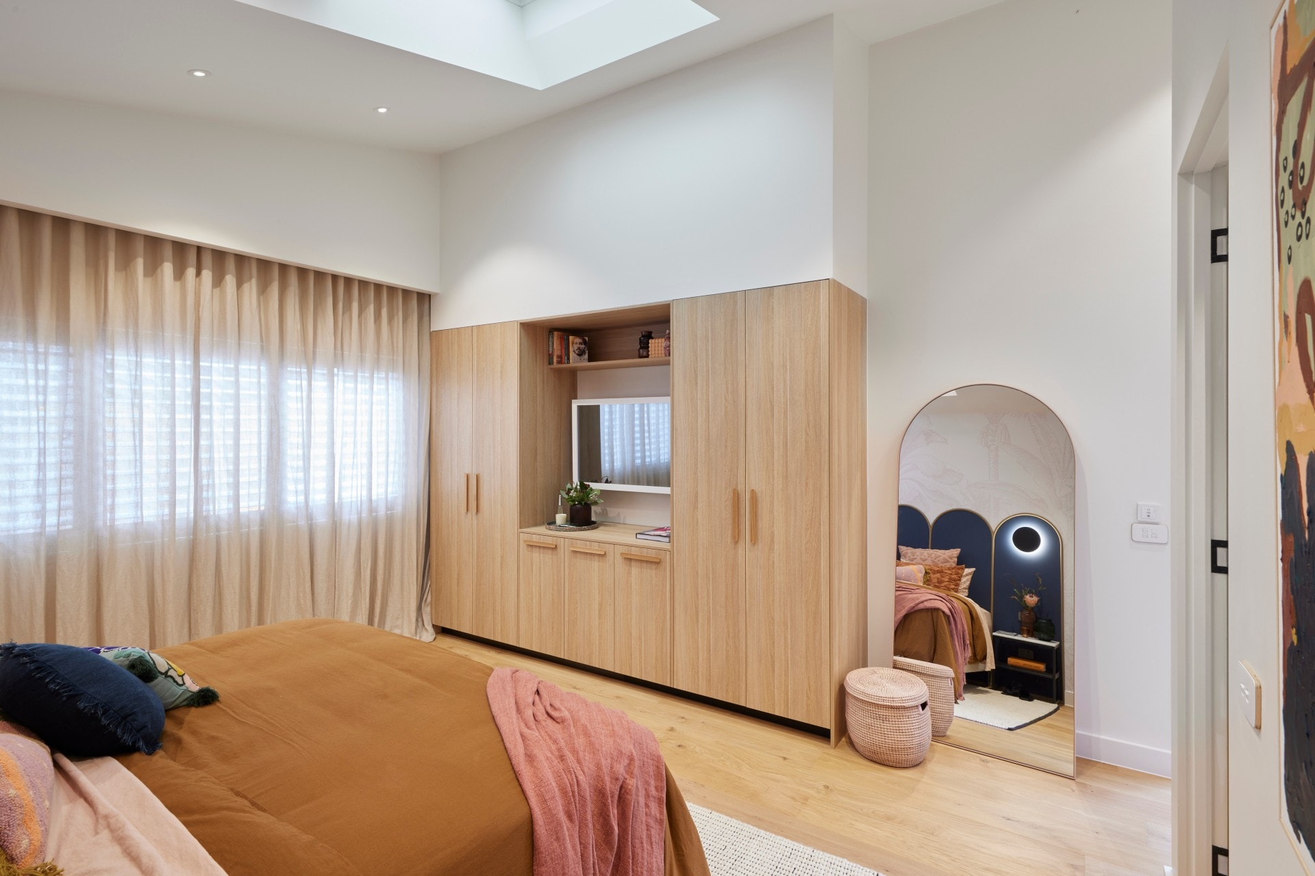 the block 2021 tanya and vito master bedroom built in joinery with tv