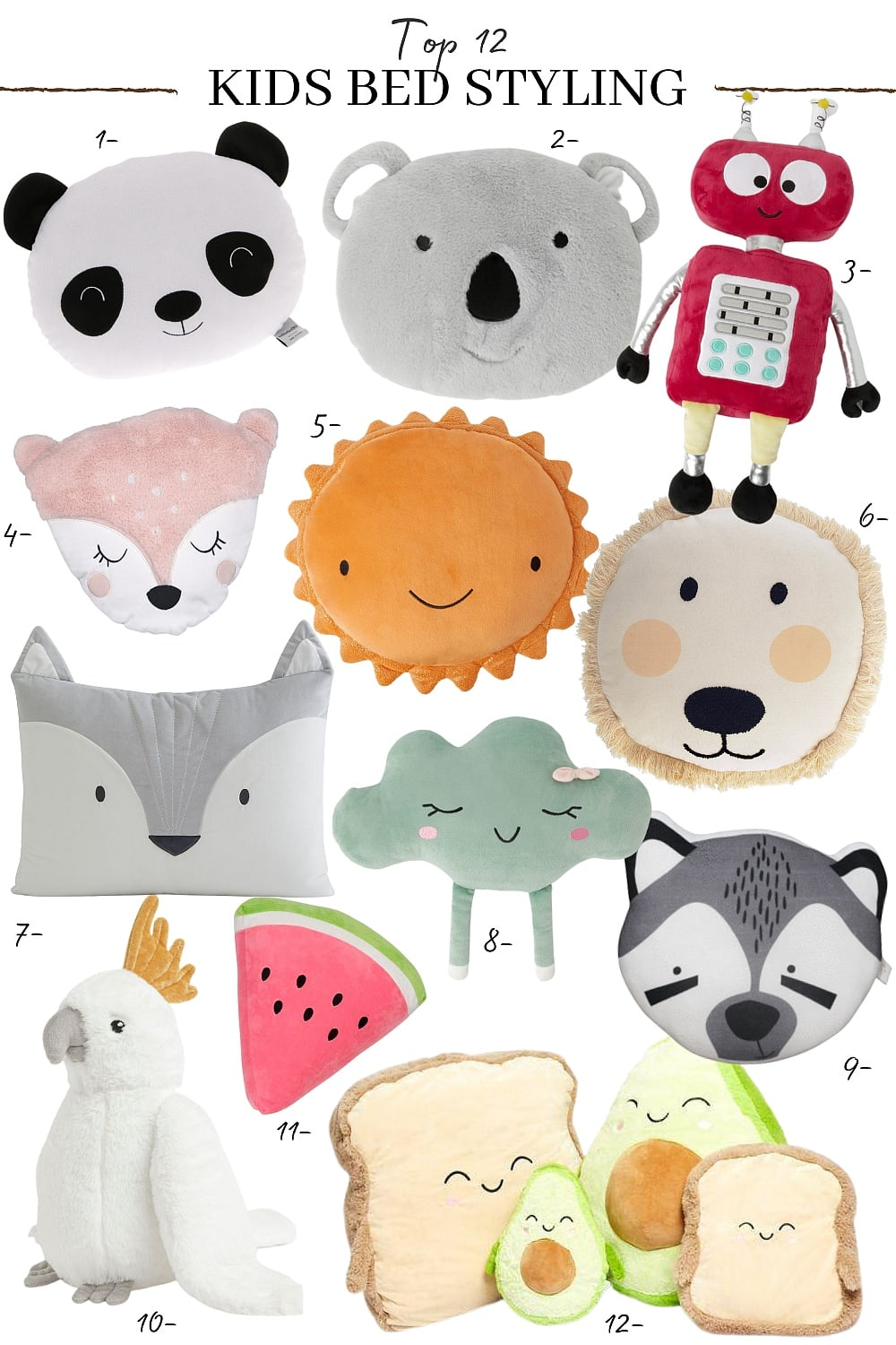 kids animal cushions for bed styling