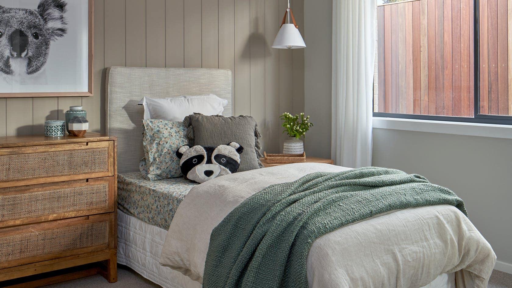 styling ideas for a single bed kids room with koala art on wall