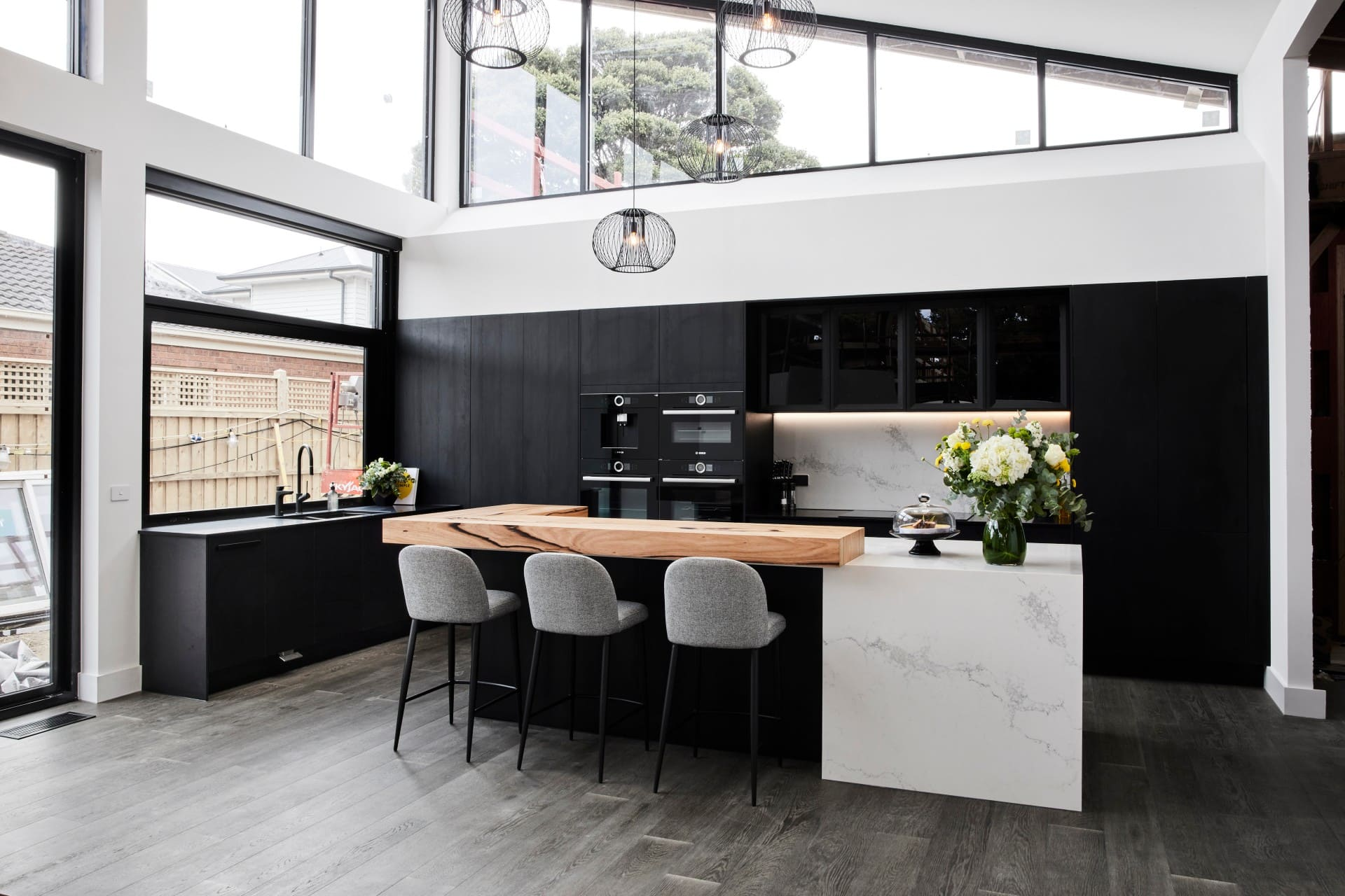 the block 2021 josh and luke black kitchen cabinets timber accent