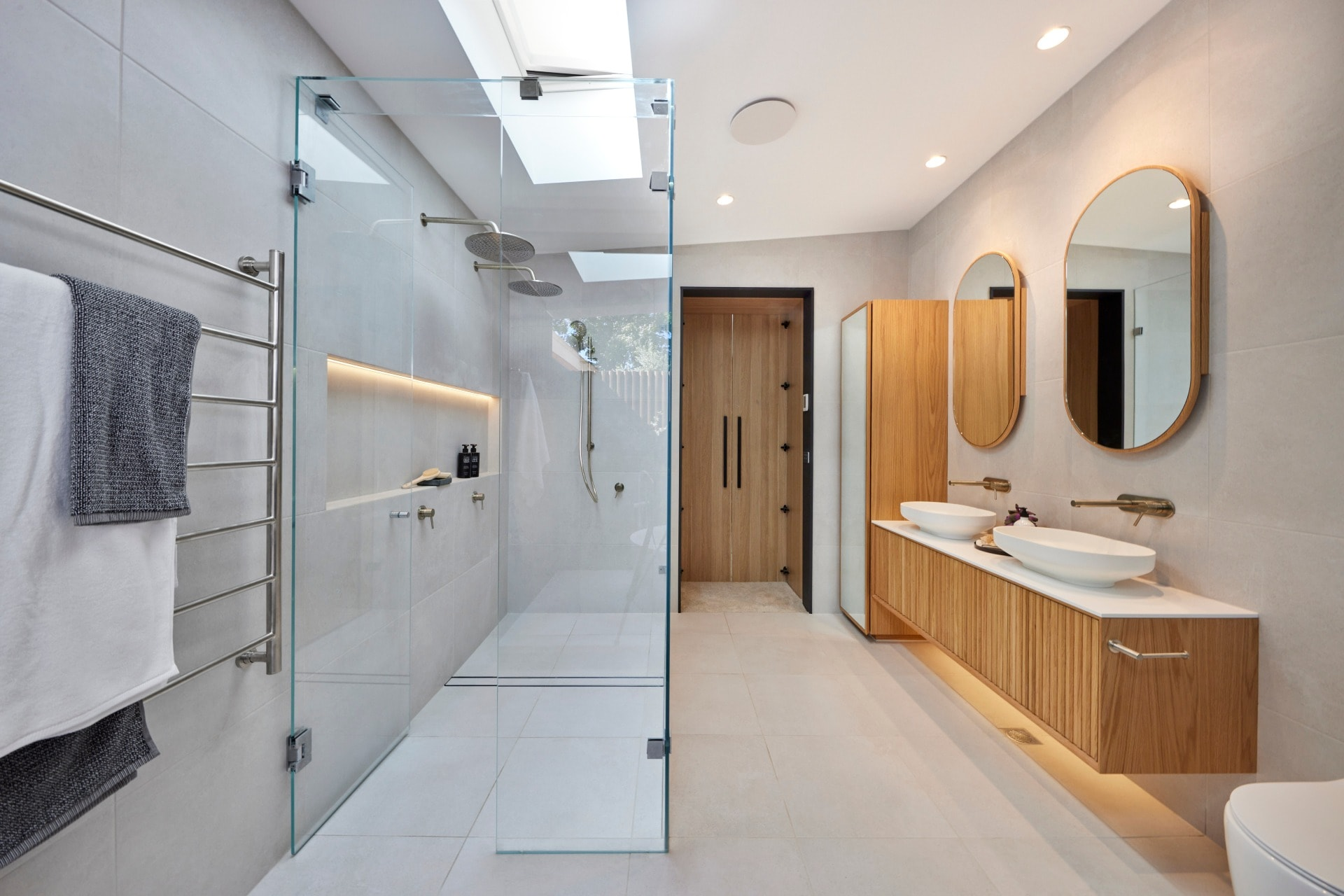 the block 2021 josh and luke master ensuite shower with brushed nickel tapware