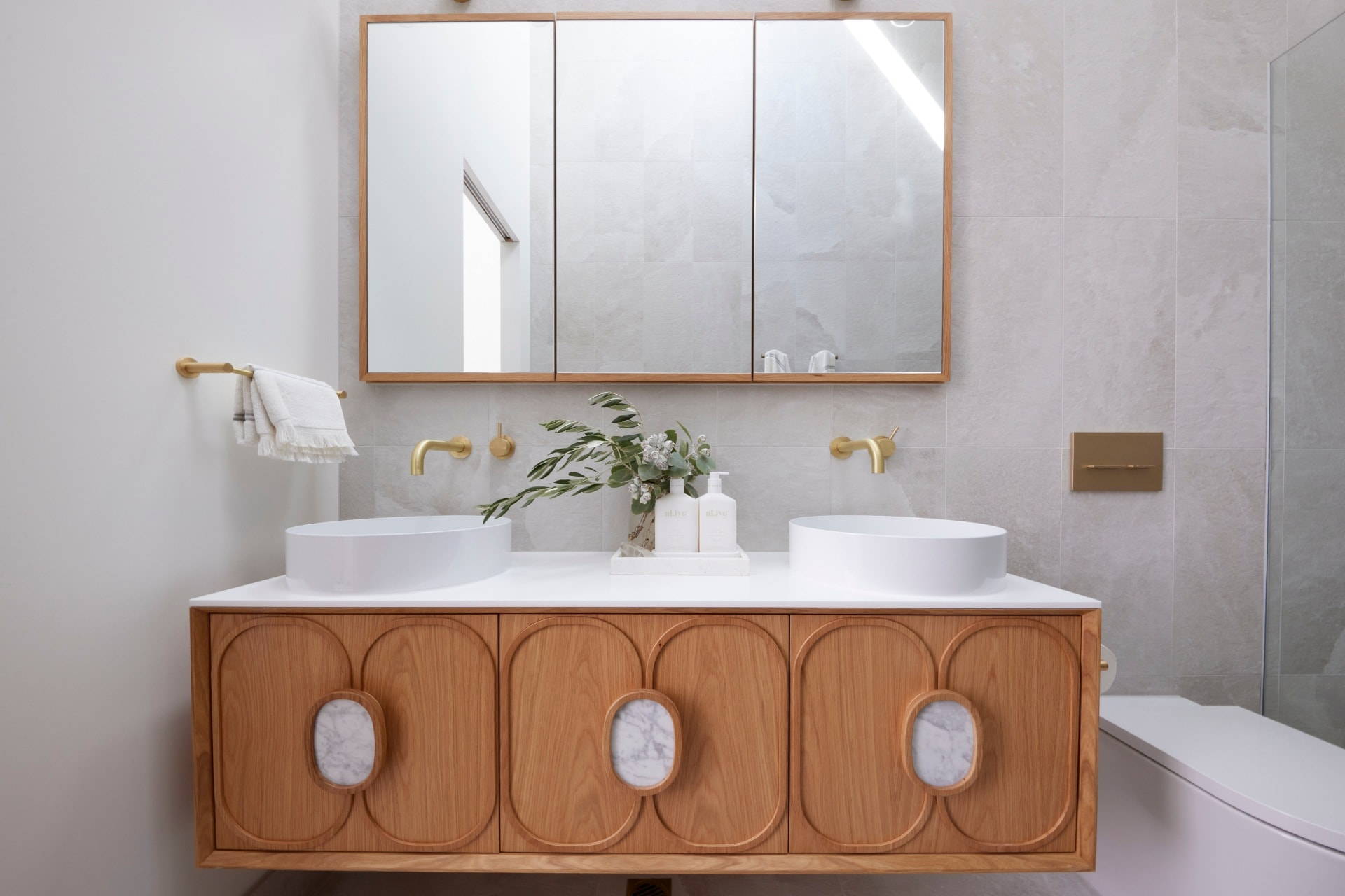 the block 2021 ronnie and georgia master ensuite floating timber vanity from reece