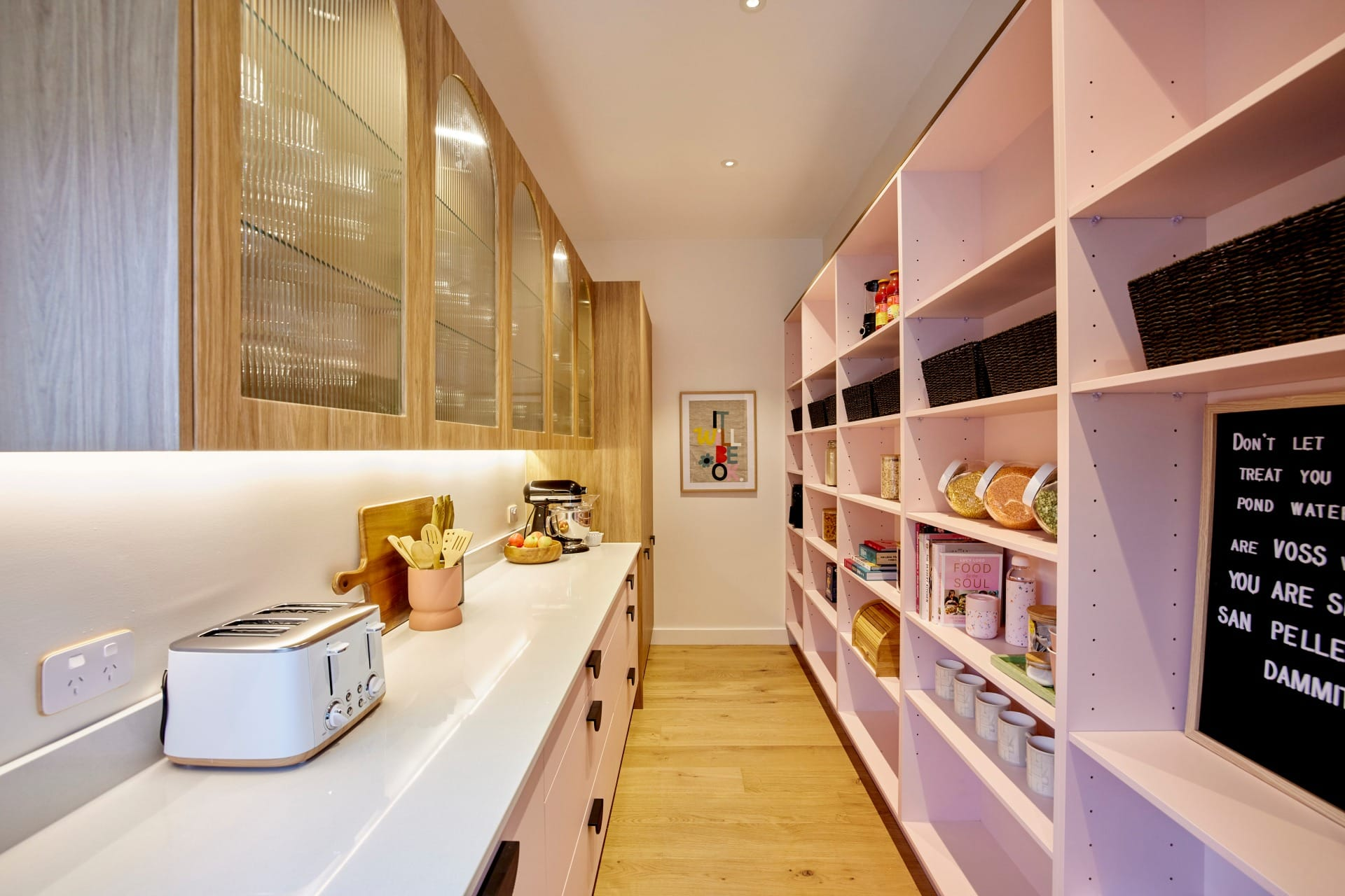 the block 2021 tanya and vito kitchen pink butlers pantry cabinetry