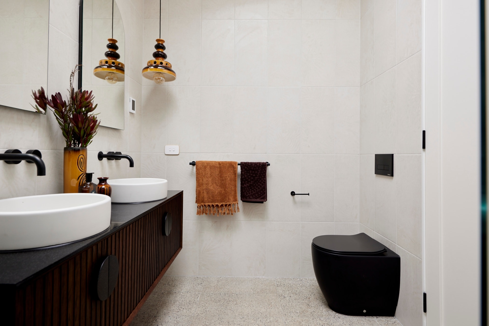the block 2021 tanya and vito master ensuite dark brown floating timber vanity from zuster