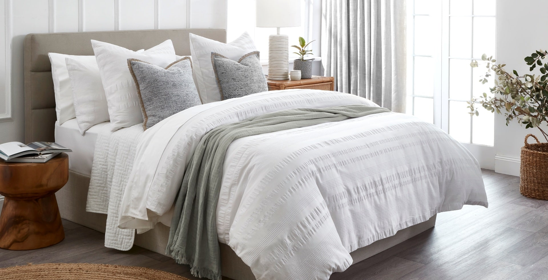 home beautiful calla quilt cover set in white