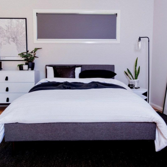ALDI bedroom furniture black and white bedroom with grey bed from ALDI
