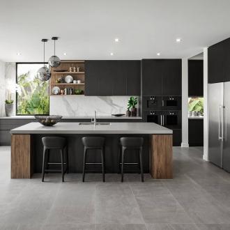 black and brown modern industrial kitchen design with grey floor tiles
