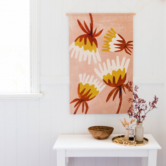 blush fuschia fabric wall art on white wall by home dweller