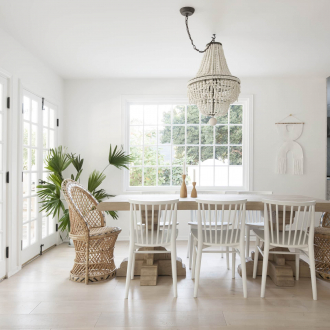 boho dining room clay pendant light over dining table