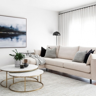 chic living room with molmic sofa globewest round marble coffee table and coco republic rug