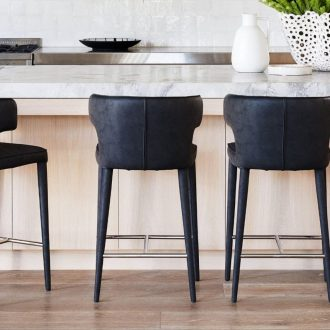 coco republic black melrose bar stool with high back