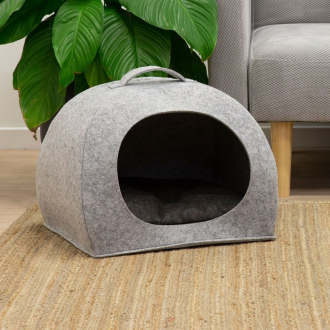 felt pet cave bed in grey for dogs or cats mocka