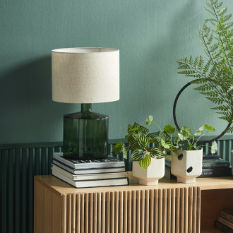 hamilton lamp with green glass base from temple and webster