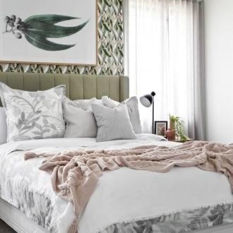 lorraine lea mimosa quilt cover set in australiana bedroom design with gumnut wallpaper