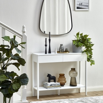 roby small white console table with two drawers for small entryway hallway