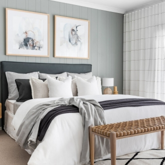 sage green bedroom styling coastal bedroom with rattan bedside table and vj panelling