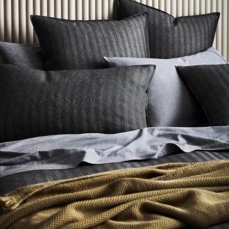 sheridan ben linen australia black stripe quilt cover set with olive throw