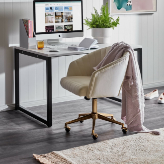 temple and webster gatsby upholstered office chair with wheels